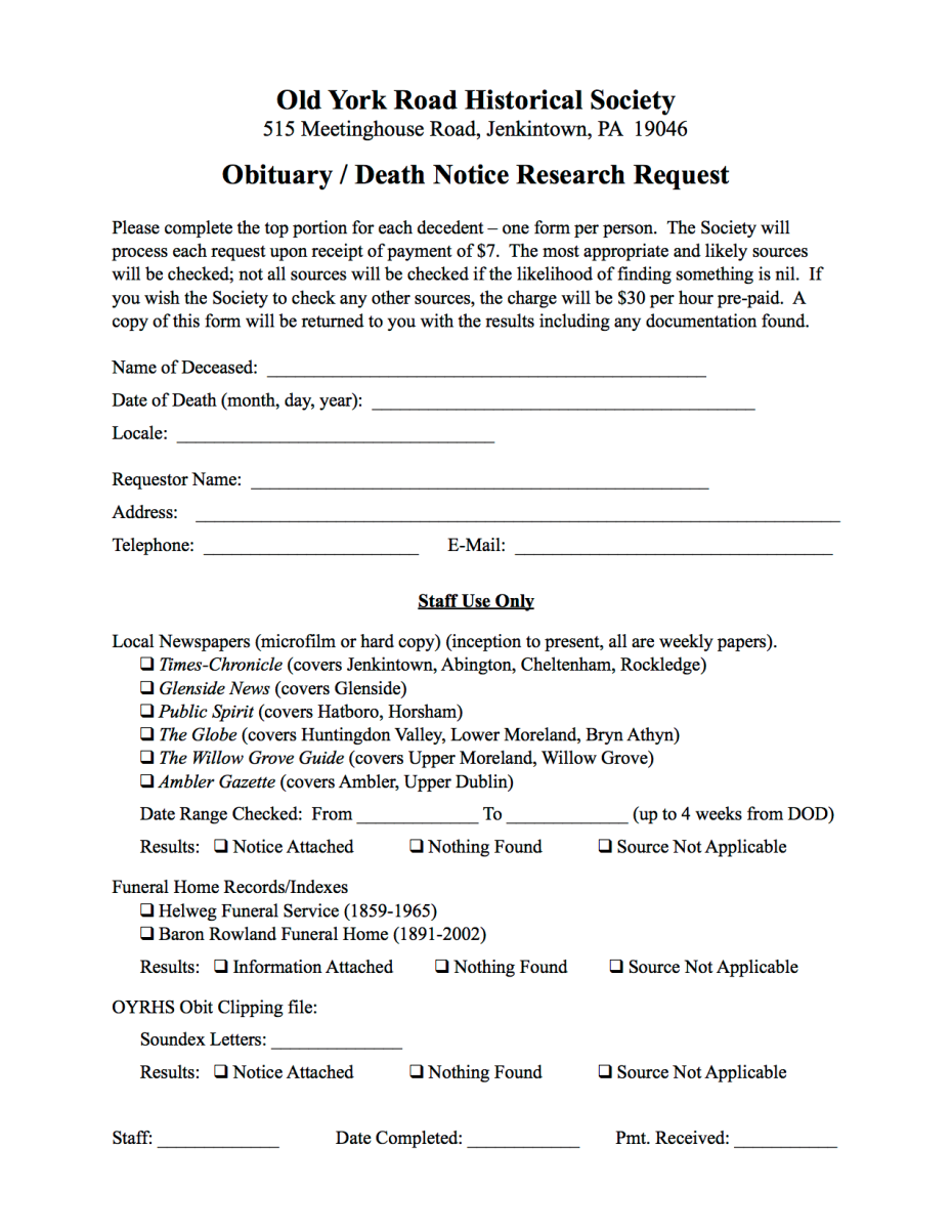 Obit Request Search Form 2